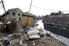Zanieczyszczenia przy Hazaribagh garbarnią Bangladesz Zdjęcie Royalty Free