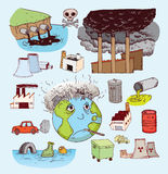 Zanieczyszczenie ikony doodle set, ręka rysująca ilustracja Obraz Royalty Free