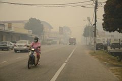Zanieczyszczenie Powietrza mgiełki zagrożenie przy Malezja obrazy royalty free