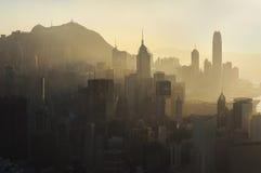 Zanieczyszczenie powietrza nad Hong Kong wyspą Obraz Royalty Free