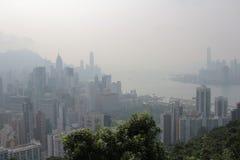 Zanieczyszczenie powietrza wiesza ove Hong Kong od Sir Cecil Jadącego Obrazy Stock