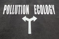 Zanieczyszczenie vs ekologia wyboru pojęcie fotografia stock