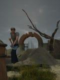 zaniedbywający cmentarniany gravedigger Fotografia Stock