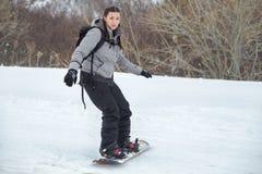 Zaniepokojona twarz beginner snowboarder obraz royalty free