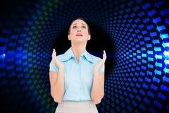 Zaniepokojony młody bizneswomanu modlenie Obraz Royalty Free