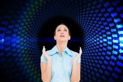 Zaniepokojony młody bizneswomanu modlenie Fotografia Stock