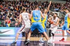 Zanis Peiners, tijdens spel tussen Letland en de Oekraïne Royalty-vrije Stock Afbeeldingen
