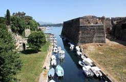 Zanja de la fortaleza vieja de Corfú Foto de archivo