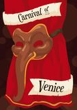 Zanni Mask over a Theater Curtain for Venice Carnival, Vector Illustration Royalty Free Stock Photos