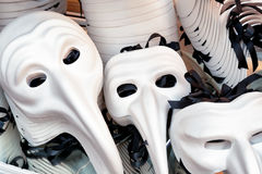 Zanni Venetian masks in shop on the Rialto Bridge, Venice, Italy Royalty Free Stock Photos