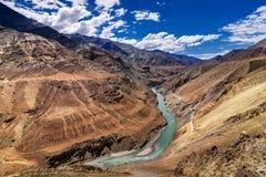 Zanskar flod, Ladakh, Jammu and Kashmir, Indien royaltyfria foton