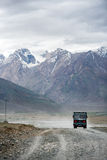 ZANSKAR, INDIA - JULY 15, 2015 : Truck on the altitude road with Royalty Free Stock Image