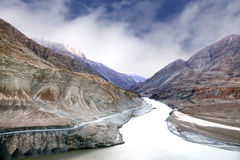 Zanskar and Indus river meeting point Stock Images