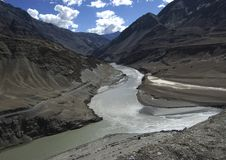 When Zanskar meets Indus Stock Photo