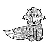 Zantangle fox handmade isolated vector on a white background for your design. Collection of animals. Coloring book Royalty Free Stock Photos