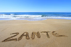 Zante op het strand wordt geschreven dat Royalty-vrije Stock Afbeelding