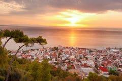 Zante stad under soluppgång på den Zakynthos ön i Grekland Arkivfoton
