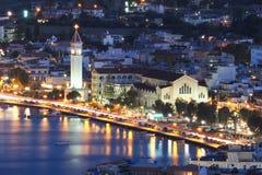 Zante stad Zakynthos Grekland på natten Mitt av staden, nära t Royaltyfri Fotografi