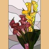 Zantedeschias de fleurs dans le style de verre souillé Photos stock