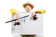 Zanudzająca kobieta z połowu prącia mienia deską obraz stock
