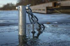 Zanurzający słup z łańcuchem w lodowatej wodzie obrazy stock