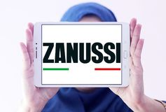 Zanussi company logo. Logo of Zanussi company on samsung tablet holded by arab muslim woman . Zanussi is an Italian producer of home appliances that was bought royalty free stock photography
