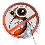 Zanzara divertente del fumetto su un fondo bianco Segno del pericolo Fotografia Stock