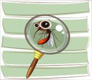 Zanzara divertente del fumetto su un fondo a strisce nell'ambito dell'ingrandimento Fotografia Stock Libera da Diritti