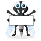 Zanzara sveglia con il segno in bianco Fotografia Stock Libera da Diritti
