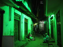 Zanzibar alleyway at night Royalty Free Stock Photography