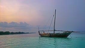 Zanzibar fartyg på ankaret Arkivbild