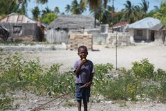 Zanzibar, a little boy looking at the camera royalty free stock image