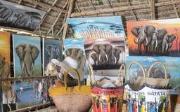 Zanzibar shoppar i zanzibar, Tanzania Arkivfoto
