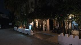 Night tourist streets of Stone Town, Zanzibar.
