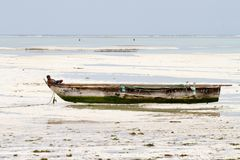 Unknown child on fishing boat in low tide. ZANZIBAR, TANZANIA - JANUARY 05: Unknown child on a fishing boat in low tide ocean on Paje beach, Zanzibar, Tanzania Royalty Free Stock Photos
