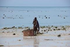 Zanzibar Tanzania, local girl standing on the beach stock photo