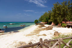 Zanzibar - Tropics - Prison Island beach and sea. Zanzibar - Beach and nautical vessel at Prison Island - Indian Ocean royalty free stock photos