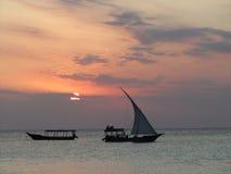 Zanzibar vaga al tramonto Fotografia Stock Libera da Diritti