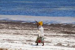 Zanzibar woman , Tanzania. Woman walking on the beach Zanzibar island, Tanzania Royalty Free Stock Photography