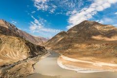 Zanzskar e fiume Indo Immagini Stock
