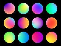 Zaokrąglony holograficzny gradientowy sfera guzik Multicolor rzadkopłynni okregów gradienty, kolorowy żywy lub ilustracji