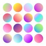 Zaokrąglony holograficzny gradientowy sfera guzik Multicolor zielonych purpurowych żółtych pomarańcz menchii okręgu cyan rzadkopł Obrazy Stock