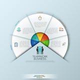 Zaokrąglony infographic projekta układ z 5 sectoral elementami łączył royalty ilustracja