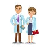 Zaopatrzenie medyczne Dwa lekarki z stetoskopami, mężczyzna i kobietą, royalty ilustracja