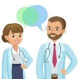 Zaopatrzenie medyczne Dwa lekarki z stetoskopami, mężczyzna i kobietą, ilustracja wektor