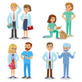 Zaopatrzenie medyczne Set szpitalny medyczny personel Lekarki, pielęgniarki ilustracja wektor