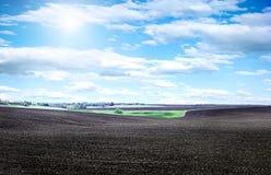 Zaorany pole na jaskrawym słonecznym dniu Fotografia Stock