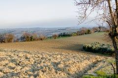 Zaorany ziemi pole w Marche wzgórzach podczas zmierzchu Fotografia Royalty Free
