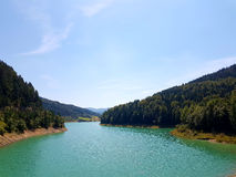 Zaovine lake. Bay with forest on both sides Royalty Free Stock Image