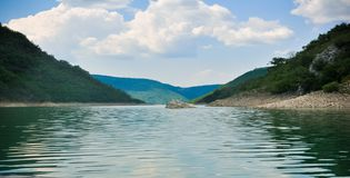 Zaovine lake in Serbia wide photograph. royalty free stock photos